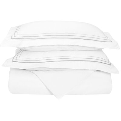 Garrick Embroidered Reversible Duvet Set Color: White/Gray, Size: Full / Queen