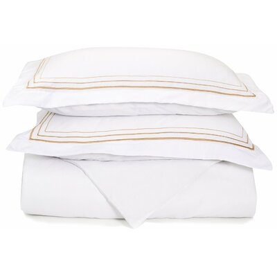 Garrick Embroidered Reversible Duvet Set Color: White/Gold, Size: King / California King