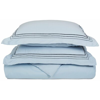 Garrick Embroidered Reversible Duvet Set Color: Light Blue/Navy Blue, Size: King / California King