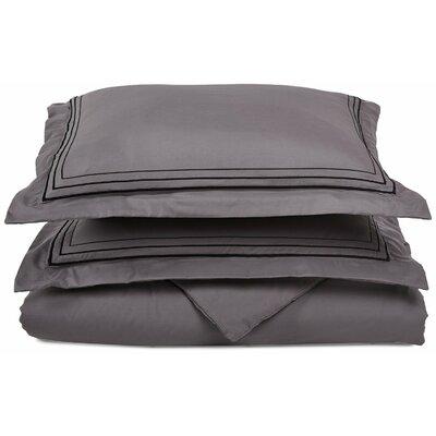 Garrick Embroidered Reversible Duvet Set Color: Gray/Black, Size: Full / Queen