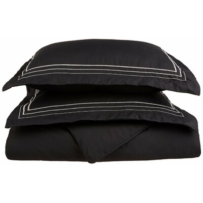 Garrick Embroidered Reversible Solid Duvet Set Color: Black/White, Size: King / California King