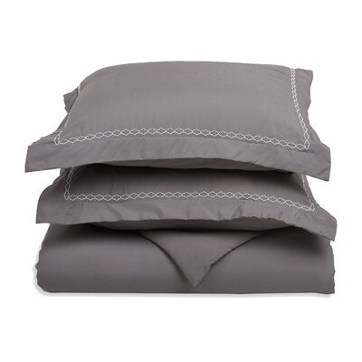 Garrick Embroidered Reversible Soft Duvet Set Size: Full / Queen, Color: Gray/White