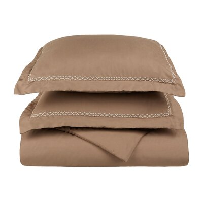 Garrick Embroidered Reversible Soft Duvet Set Color: Taupe/Ivory, Size: King / California King