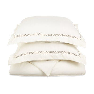 Garrick Embroidered Reversible Soft Duvet Set Size: Full / Queen, Color: Ivory/Taupe
