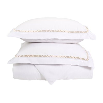 Garrick Embroidered Reversible Soft Duvet Set Size: Full / Queen, Color: White/Gold