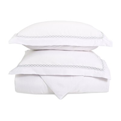 Garrick Embroidered Reversible Soft Duvet Set Color: White/Gray, Size: King / California King