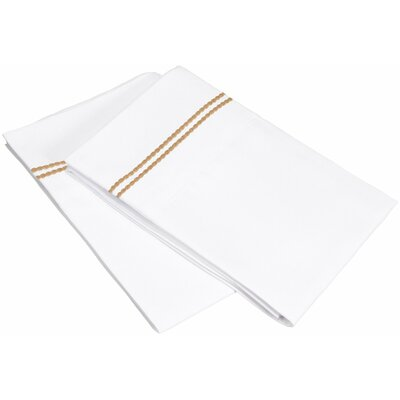 Garrick Solid-2 Line Embroidery Pillowcase Color: White/Gold, Size: King