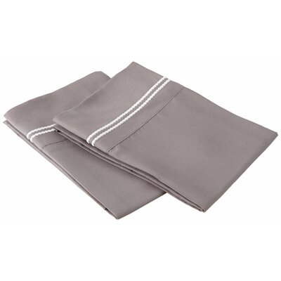 Garrick Solid-2 Line Embroidery Pillowcase Color: Gray/White, Size: King