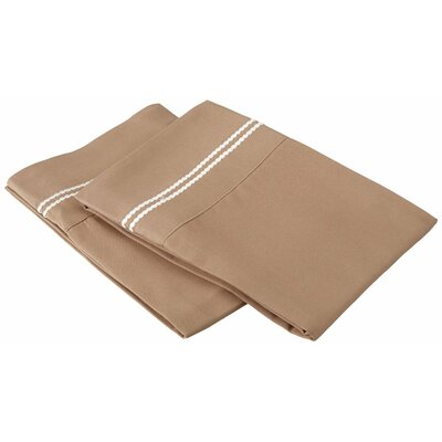 Garrick Solid-2 Line Embroidery Pillowcase Color: Taupe/Ivory, Size: King