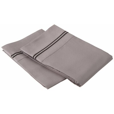 Garrick Solid-2 Line Embroidery Pillowcase Color: Gray/Black, Size: King