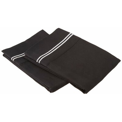 Garrick Solid-2 Line Embroidery Pillowcase Size: Standard, Color: Black/White