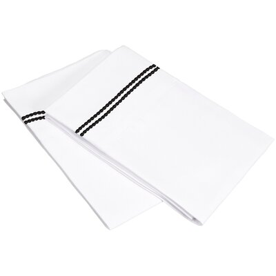 Garrick Solid-2 Line Embroidery Pillowcase Size: Standard, Color: White/Black