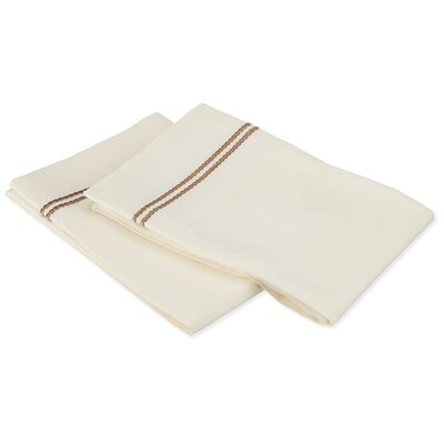 Garrick Solid-2 Line Embroidery Pillowcase Color: Ivory/Taupe, Size: King