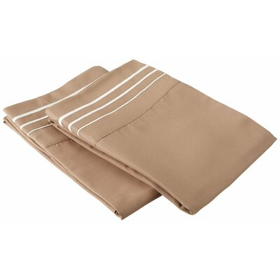 Garrick 6 Piece Solid-3 Line Embroidery Pillowcase Color: Taupe/Ivory, Size: Standard