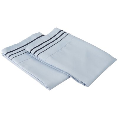Garrick 6 Piece Solid-3 Line Embroidery Pillowcase Color: Light Blue/Navy Blue, Size: Standard