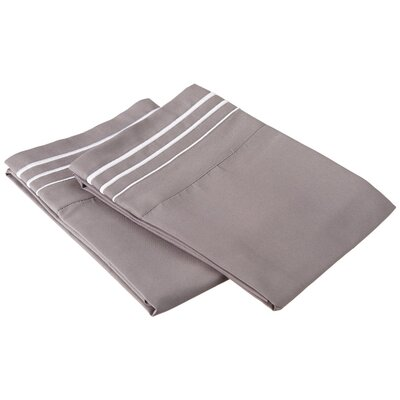 Garrick 6 Piece Solid-3 Line Embroidery Pillowcase Color: Gray/White, Size: Standard