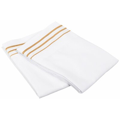 Garrick 6 Piece Solid-3 Line Embroidery Pillowcase Color: White/Gold, Size: Standard
