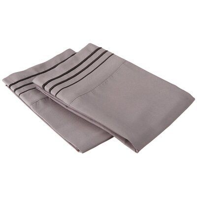Garrick Solid-3 Line Embroidery Pillowcase Size: Standard, Color: Gray/Black