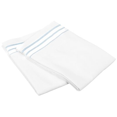 Garrick Solid-3 Line Embroidery Pillowcase Size: King, Color: White/Blue
