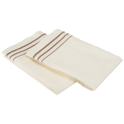 Garrick Solid-3 Line Embroidery Pillowcase Size: King, Color: Ivory/Taupe