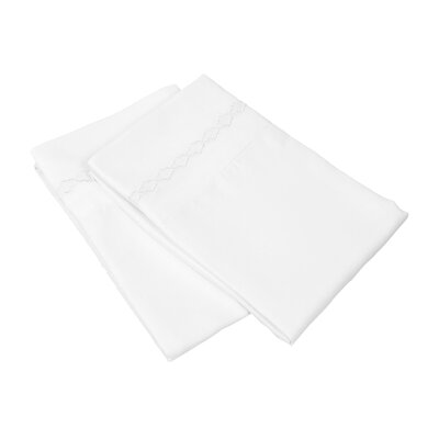 Garrick Solid Clouds Embroidery Pillowcase Size: Standard, Color: White