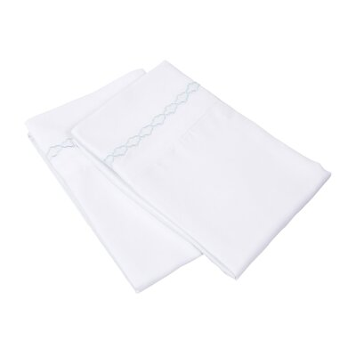 Garrick Solid Clouds Embroidery Pillowcase Color: White/Blue, Size: King