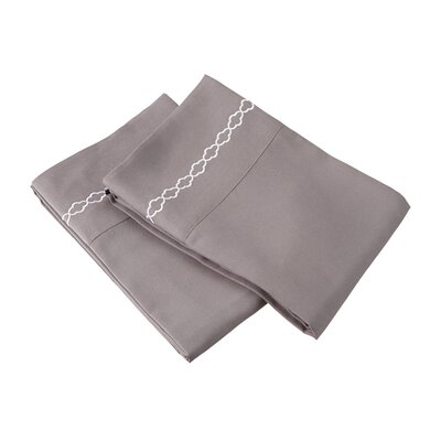 Garrick Solid Clouds Embroidery Pillowcase Size: Standard, Color: Gray/White