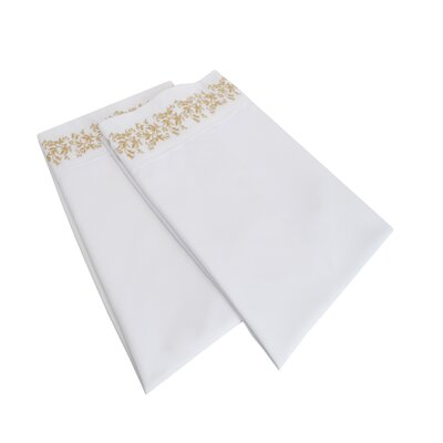 Garrick Solid Floral Lace Embroidery Pillowcase Size: Standard, Color: White/Gold