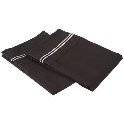 Garrick Solid-2 Line Embroidery Pillowcase Size: Standard, Color: Black/Gray