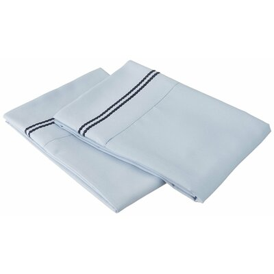 Garrick Solid-2 Line Embroidery Pillowcase Color: Light Blue/Navy Blue, Size: King
