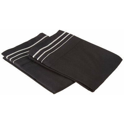 Garrick Solid-3 Line Embroidery Pillowcase Size: Standard, Color: Black/Gray