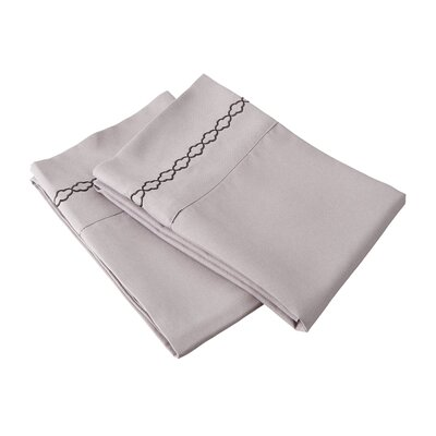 Garrick Solid Clouds Embroidery Pillowcase Color: Gray/Black, Size: King