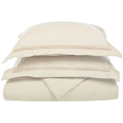 Garrick Reversible Duvet Set Color: Ivory, Size: King / California King