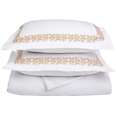 Garrick Embroidered Reversible Duvet Set Color: White/Gold, Size: Twin / Twin XL