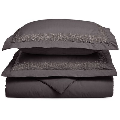Garrick Embroidered Reversible Duvet Set Color: Charcoal, Size: King / California King