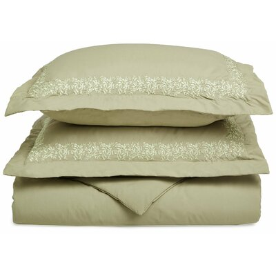 Garrick Embroidered Reversible Duvet Set Color: Sage, Size: King / California King
