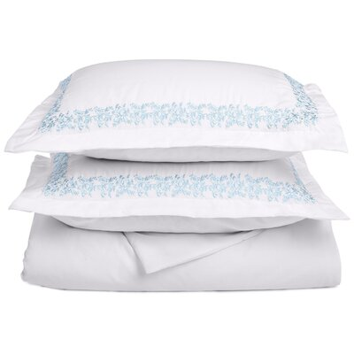 Garrick Embroidered Reversible Duvet Set Size: King / California King, Color: White/Light Blue