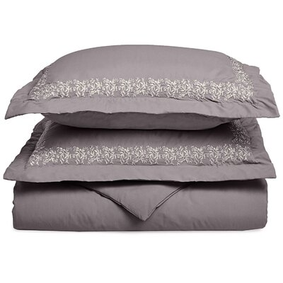 Garrick Embroidered Reversible Duvet Set Color: Gray, Size: Twin / Twin XL