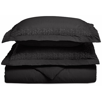 Garrick Embroidered Reversible Duvet Set Size: Full / Queen, Color: Black