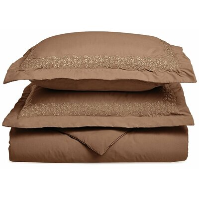 Garrick Embroidered Reversible Duvet Set Color: Taupe, Size: King / California King