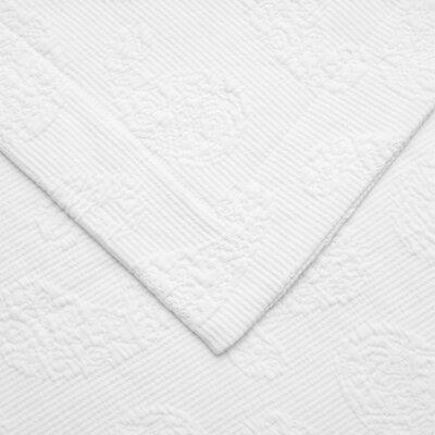 Garris Paisley Jacquard Matelasse Bedspread Size: Queen, Color: White