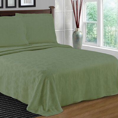 Benito Paisley Jacquard Matelasse Bedspread Size: King, Color: Sage