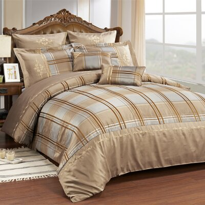 Impressions Madison 7 Piece Reversible Duvet Cover Set Size: Queen, Color: Taupe
