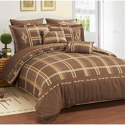 Impressions Madison 7 Piece Reversible Duvet Cover Set Size: Queen, Color: Chocolate