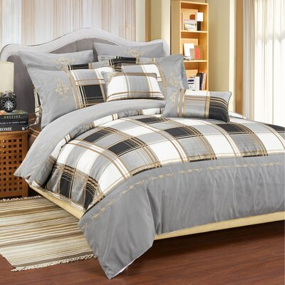 Impressions Madison 7 Piece Reversible Duvet Cover Set Color: Grey, Size: King