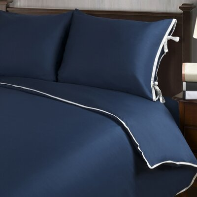 Bahama Reversible Duvet Cover Set Color: Navy Blue with Silver Trim, Size: Twin