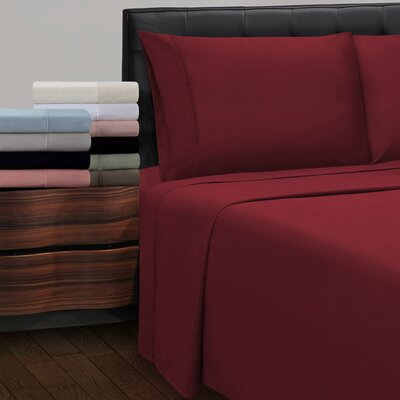 Cullen 300 Thread Count Cotton Solid Pillowcase Size: Standard, Color: Burgundy