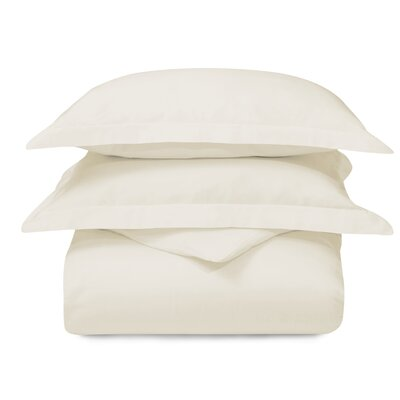 Cotton 3 Piece Duvet Set Color: Ivory, Size: Twin