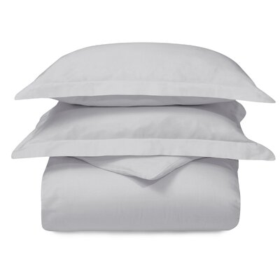 Superior Cotton Antimicrobial Solid Duvet Cover Set Size: Full/Queen, Color: Light Gray