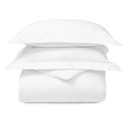 Cotton 3 Piece Duvet Set Color: White, Size: Twin